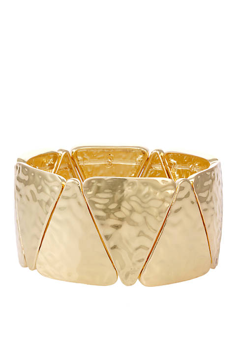 Erica Lyons Gold Tone Hammered Stretch Bracelet