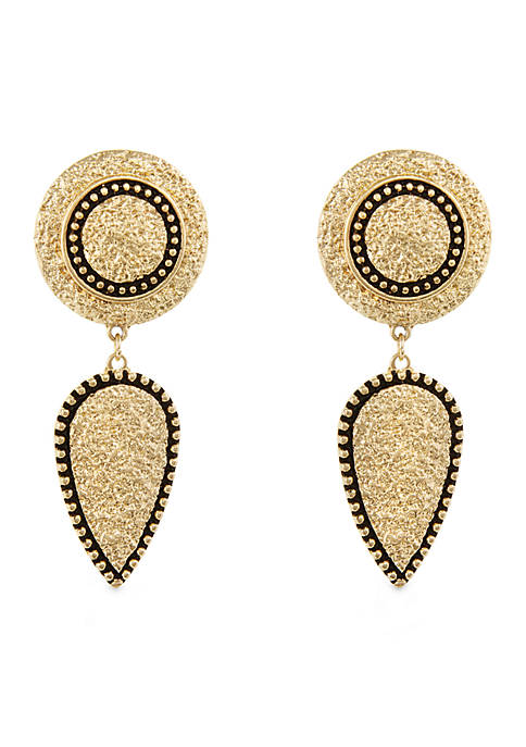 Erica Lyons Gold Tone Metal Drop Clip Earrings
