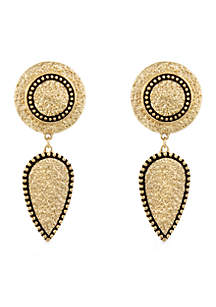 Erica Lyons Gold Tone Metal Drop Clip Earrings