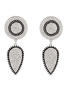 Silver-Tone Texture Me Later Drop Clip Earrings