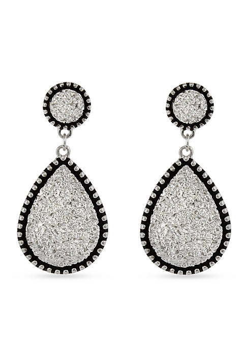 Silver-Tone Texture Me Later Teardrop Pierced Earrings