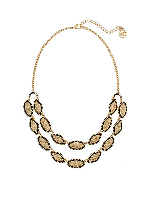 Erica Lyons Gold Tone 2 Row Necklace