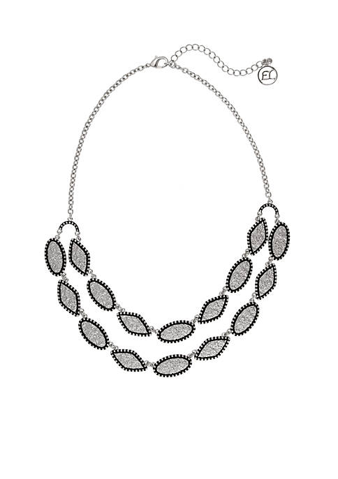 Silver-Tone Texture Me Later Double Row Necklace