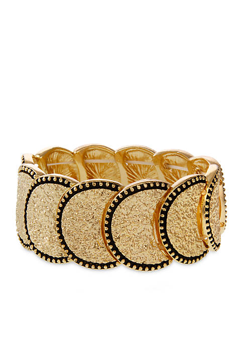 Erica Lyons Gold Tone Metal Stretch Bracelet
