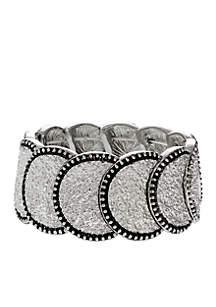 Silver-Tone Texture Me Later Circles Stretch Bracelet