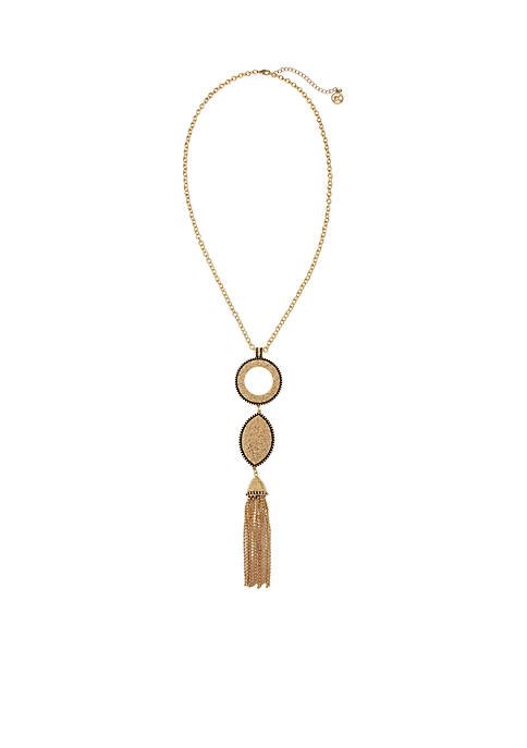 Erica Lyons Gold-Tone Metal Tassel Necklace