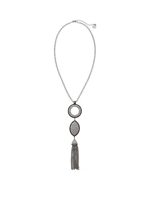 Erica Lyons Silver-Tone Texture Me Later Long Tassel