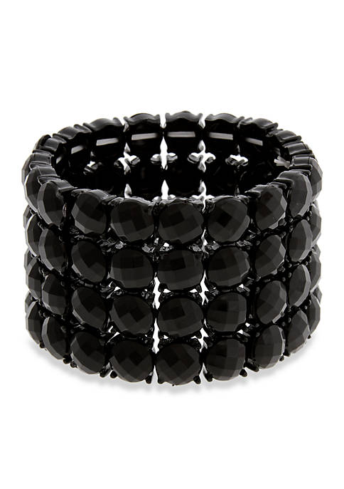 Black Tone Little Black Dress 4 Row Stretch Bracelet