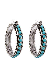 Silver-Tone Turquoise Hoop Pierced Earrings