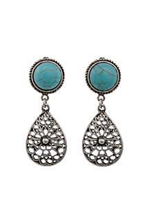 Silver-Tone Turquoise Teardrop Clip Earrings
