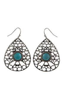 Silver-Tone Turquoise Teardrop Pierced Earrings