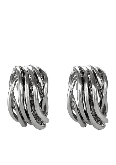 Erica Lyons Silver Tone Clip Earrings