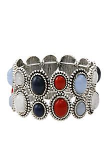 Silver-Tone American Grafitti 2 Row Stretch Bracelet