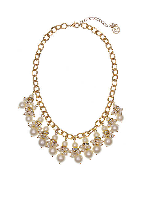 Erica Lyons Gold-Tone Pearlfection Shaky Front Necklace