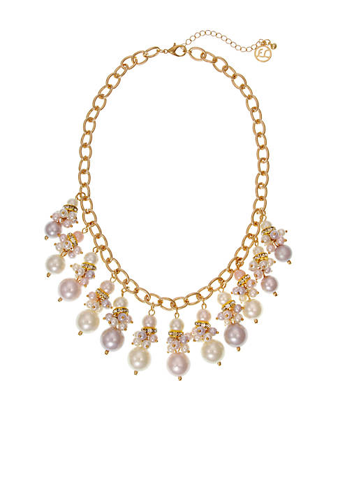 Erica Lyons Gold-Tone Pearlefection Shaky Front Necklace