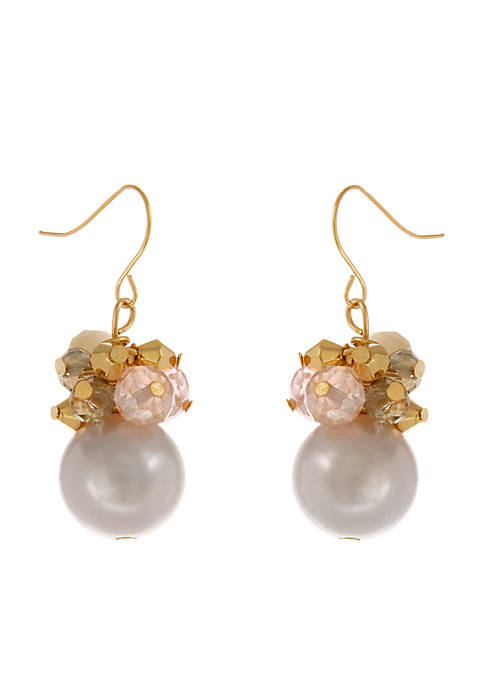 Erica Lyons Gold Tone Pearlfection Drop Small Cluster