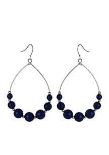 Blue Beaded Wire Earrings