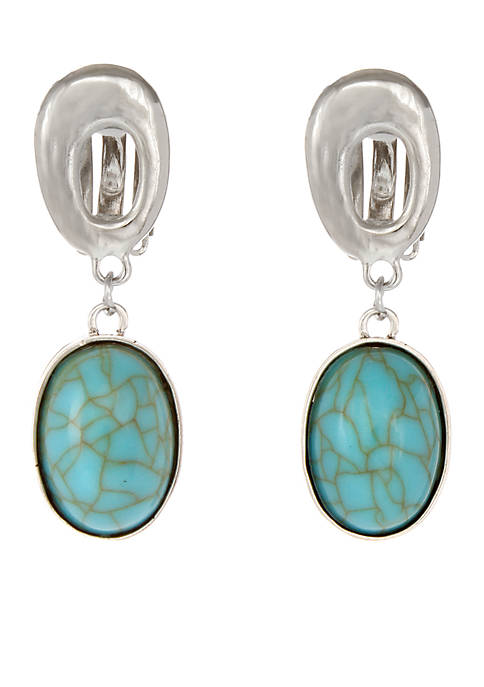Erica Lyons Silver-Tone Double Drop Turquoise Clip Earrings