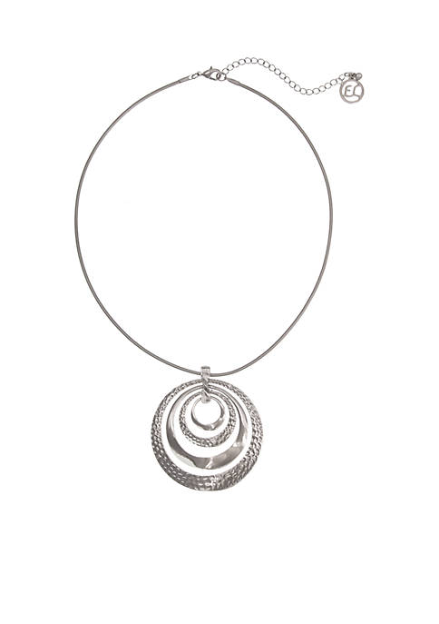 Silver-Tone Choker With Rings Necklace
