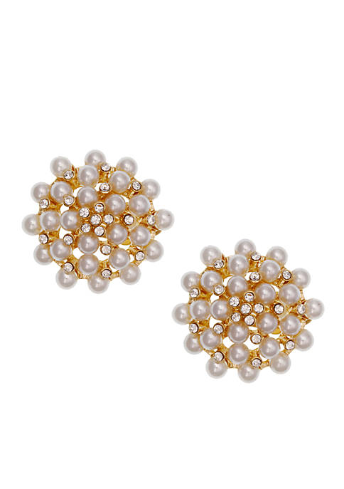Erica Lyons Gold-Tone Pearlfection Button Clip Earrings