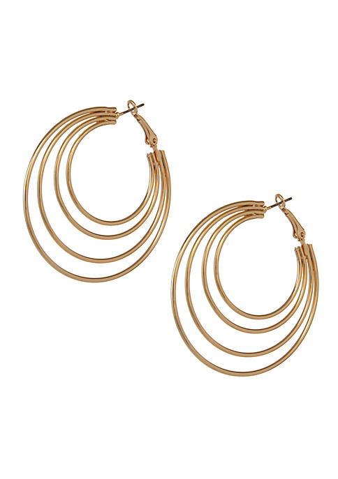 Erica Lyons Gold-Tone Concentric Hoop Pierced Earrings