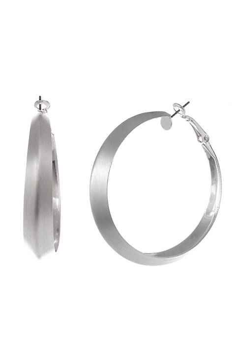 Erica Lyons Silver-Tone Hoop Pierced Earrings