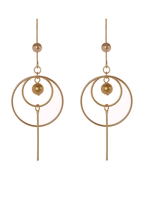 Erica Lyons Gold Tone Metal Statement Pierced Earrings
