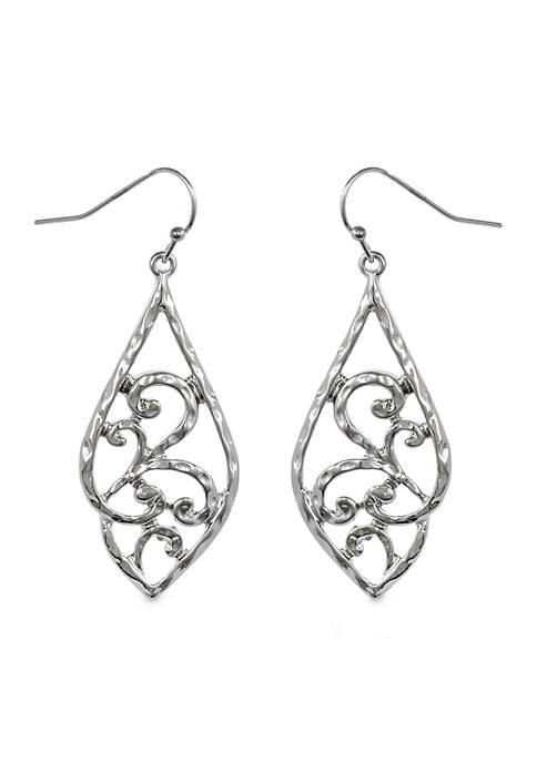 Erica Lyons Silver-Tone Metal Drop Earrings