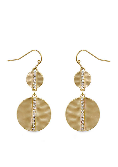 Erica Lyons Gold-Tone Metal Drop Earrings