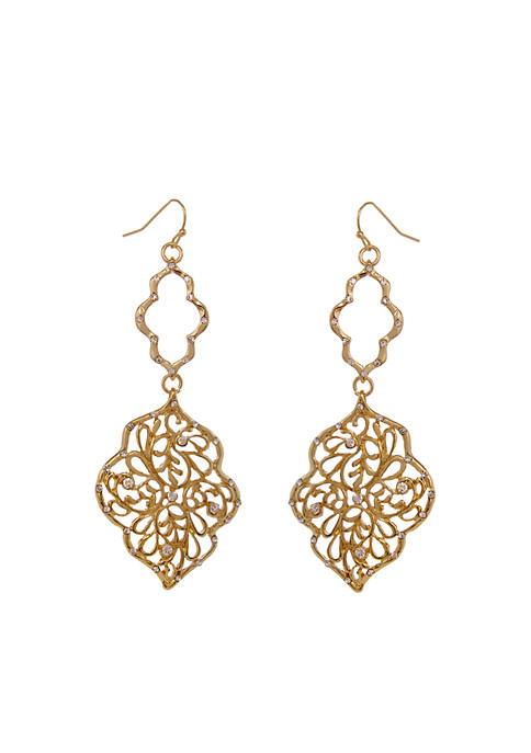 Erica Lyons Gold-Tone Moroccan And Rollin Filigree Drop