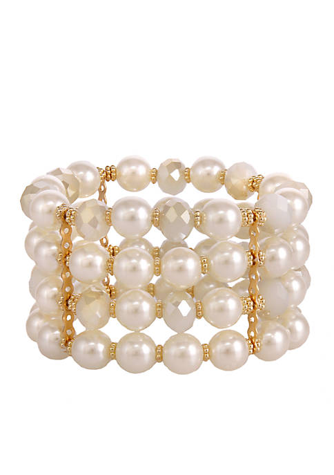 Erica Lyons Gold-Tone Pearlfection 4-Row Stretch Bracelet