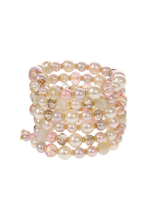 Erica Lyons Gold-Tone Pearlfection Beaded Coil Bracelet