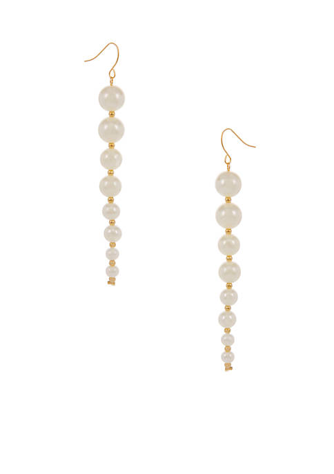 Erica Lyons Gold-Tone Pearlfection Drop Linear Pierced Earrings