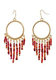 Gold-Tone Meet Me At Sunset Fringe Pierced Earrings