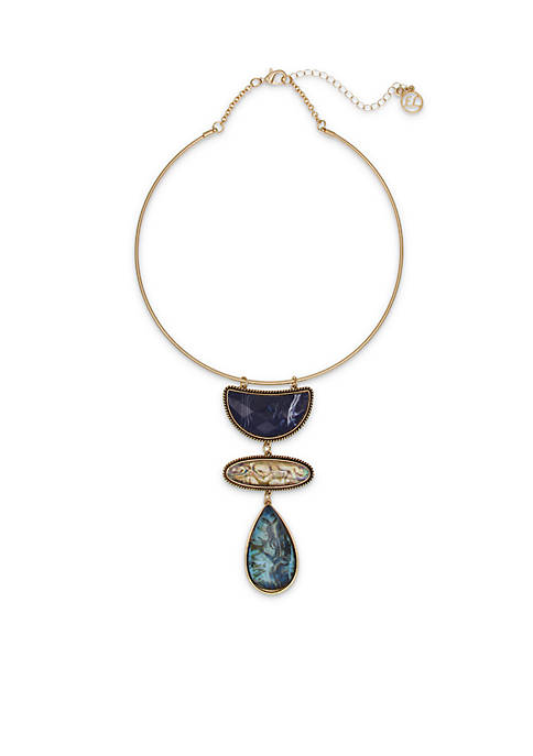 Erica Lyons Gold-tone Blue Coil Necklace