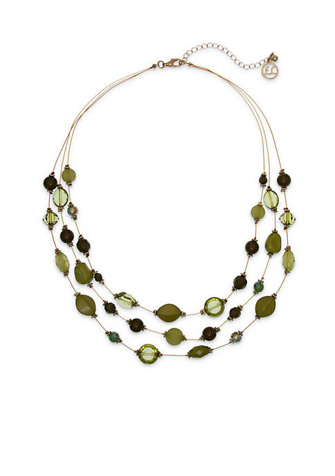Erica Lyons Gold Tone 3-Row Short Green Necklace