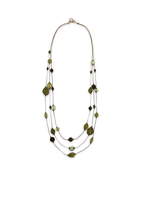 Erica Lyons Gold-Tone 3-Row Long Green Necklace