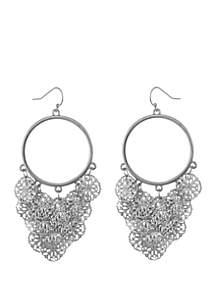 Silver-Tone Round Filigree Drop Earrings