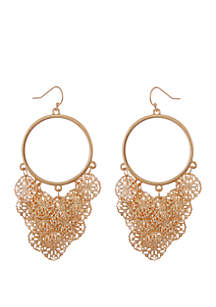 Rose Gold Round Filigree Drop Earrings