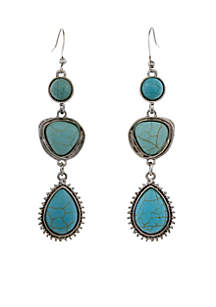 Silver-Tone 3 Drop Pierced Earrings Turquoise