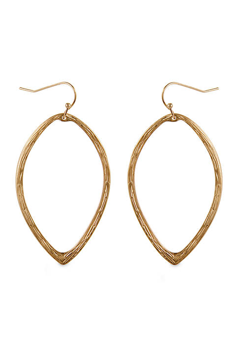 Erica Lyons Gold Tone Metal Drop Pierced Earrings