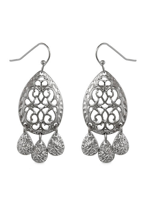 Erica Lyons Silver-Tone Drop Pierced Earrings