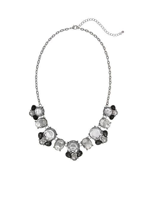Erica Lyons Silver-Tone Crystal Collar Necklace