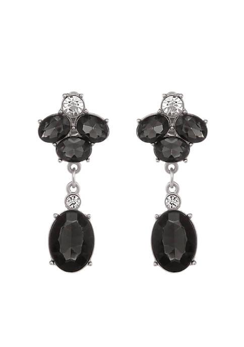 Silver-Tone Stone Drop Earrings