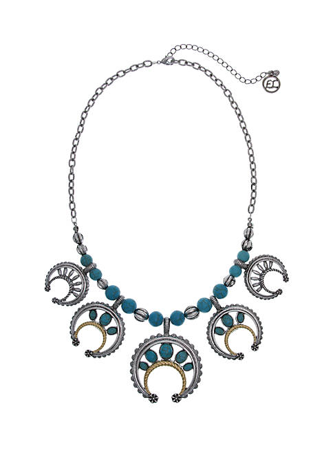 Silver-Tone Turquoise Crackle Howlite Stones and Textured Castings Collar Necklace