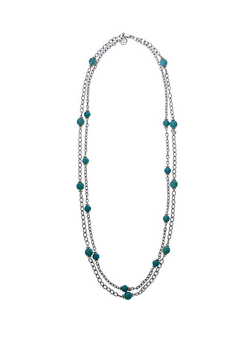 Erica Lyons Silver-Tone 2-Row Chain Necklace with Round