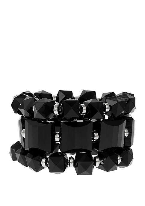 Erica Lyons Assorted Bead Stretch Bracelets with Silver