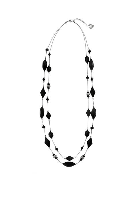 Silver Tone 2 Row Necklace with Assorted Black Beads