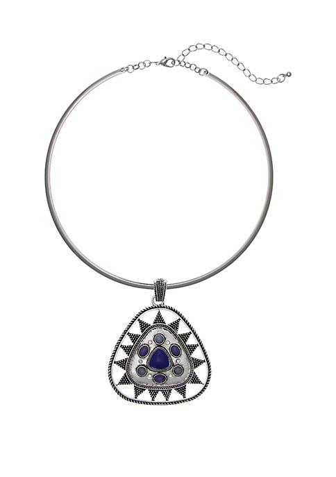 Silver-Tone Pendant Blue Stone Pendant Necklace
