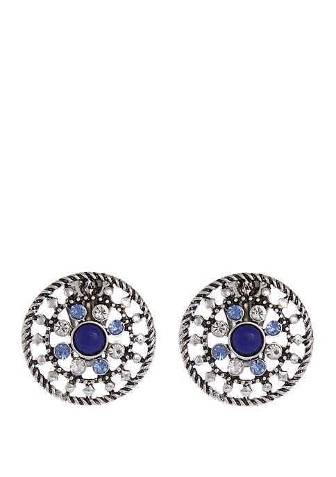 Silver-Tone Stone Button Earrings